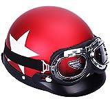 YouN Helm, Motorrad-Helm, offen, verstellbar, Rot, Farbe A, 260.00*230.00*160.00mm