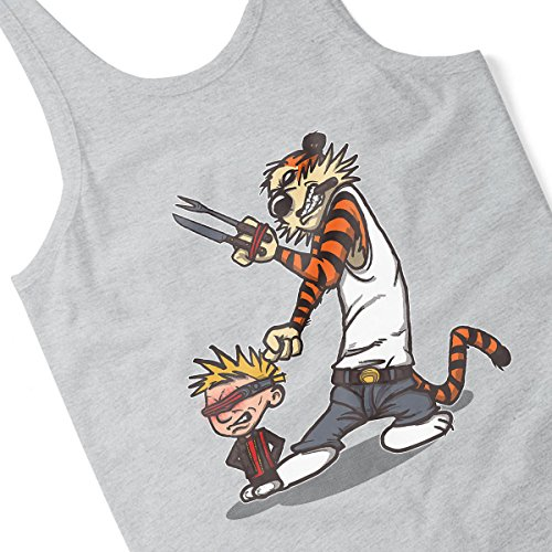 X Men Calvin And Hobbes Superhero Team Men's Vest Heather Grey