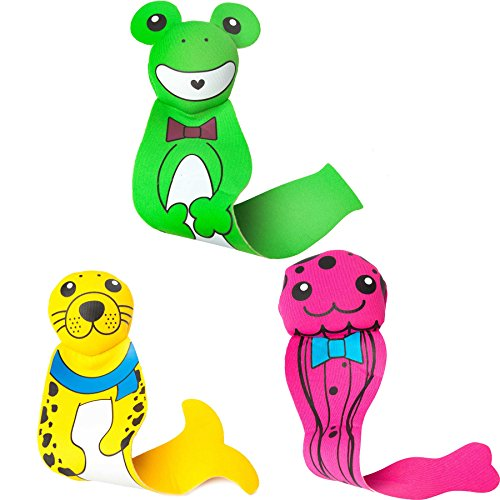 Set di 3 giocattoli acquatici di neoprene riempiti di sabbia, ideali per aiutare i bambini a nuotare e a immergersi in acqua. Il giocattolo acquatico è adatto per il bagno, per nuotare, al lago o al mare. Questo set contiene: Medusa, Rana & Foca