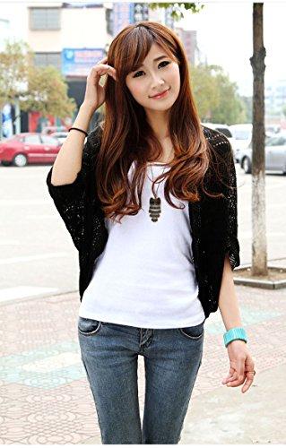 wlgreatsp Cardigan Manteau Kniwear Tricoté Tops creux Femmes Mode Black