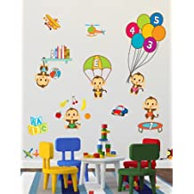 Cute '5 Little Monkeys' Nursery Rhyme Wall Stickers / Wall Decals Which Come To Life In Childrens Bedrooms, Kids Playrooms And Baby Nursery (Small)