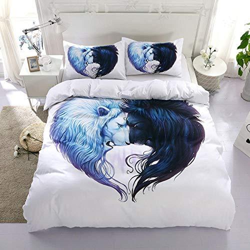 ZMK-720 Personalisierte Blaue Bunte Bettwäsche-Sets Mit Lion Wolf Twin Königin King Size Bettbezug Weiche Bettwäsche Heimtextilien @ Uk_Double_3Pcs -