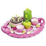 Teeservice SLH 2170 rosa mit grüner Kanne Puppen-Teeservice | Kinder-Kaffeeservice | pink-grünes-Design | mit Tablett, Kanne, Tassen und Teller, Lööfel und Geburtstagstorte |Holzspielzeug-Peitz