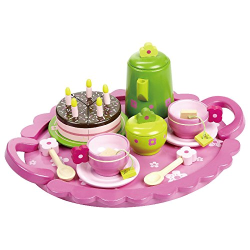 Teeservice SLH 2170 rosa mit grüner Kanne Puppen-Teeservice | Kinder-Kaffeeservice |...
