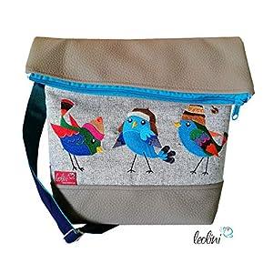 Foldover Tasche Vogerln Stickerei handmade Foldovertasche mit Außenfach