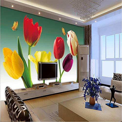 Kuamai Fondo De Pantalla Personalizado 3D Tulipán Fondos De Pantalla Románticos Con Flores 3D Murales De Pared Tv Fondo Mural De Pared Papel Tapiz De La Sala De Estar-200X140Cm