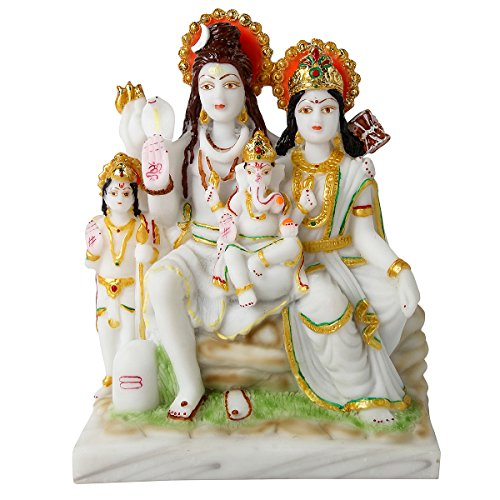 Divine Gifts Shiv Parivar Marble Idols, Statues For Home Decor