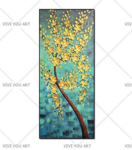 CHZDYH Ölgemälde Handgemalte Messer Gold Baum Ölgemälde Auf Leinwand Große Palette 3D Gemälde Für Wohnzimmer Moderne Abstrakte Wandkunst Bilder 02 80X160 cm -