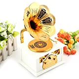 Hilitand Caja de Música, Forma de fonógrafo Retro Caja de Música Regalo Clásico Trompeta de Oro Cuerno Artes Creativas(Blanco)