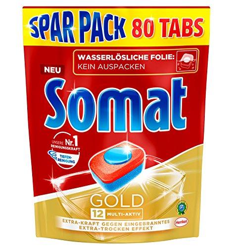 Somat 12 Gold: Sparpack mit 80 Spülmaschinen-Tabs mit höchster Reinigungskraft, 12 Vorteile wie Extra-Wirkung gegen Eingebranntes und Extra-Trocken-Effekt, phosphatfrei -