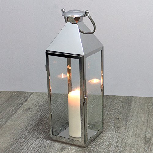 Elegante Laterne 54x18x18cm aus Edelstahl mit Glasfenster und Henkel Gartenlaterne Kerzenhalter Windlicht Dekoration Beleuchtung