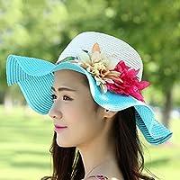 Damen-Mode-Hut-Sommer-Blumen-Strohhut-Sonnenhut-Zusammenklappbarer Strand-Zylinderhut