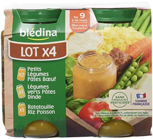 Blédina Assortiment 2 Petits Légumes Pâtes Boeuf/1 Légumes Verts Pâtes Dinde/1 Ratatouille Riz Poisson dès 9 mois 4 x 200 g - Pack de 6