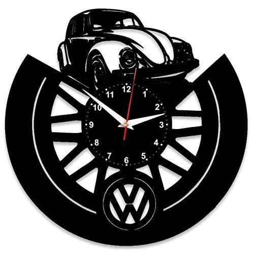 Evevo vw volkswagen orologio da parete in vinile, con disco in vinile, retrò, grande orologio, stile, decorazione per la casa, bellissimo regalo, orologio da parete vw volkswagen