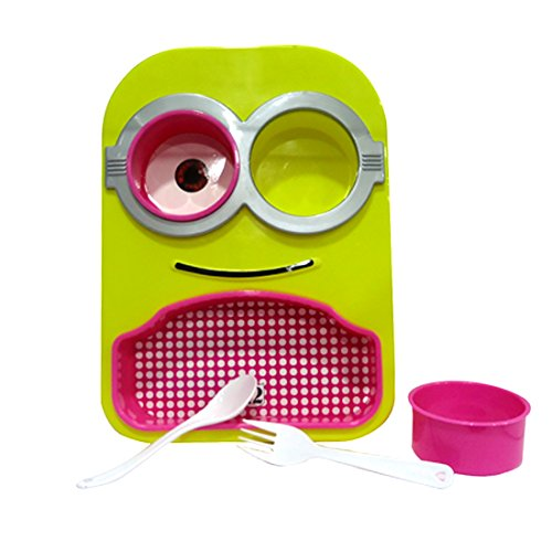 kids minion printed stylish colourful design multipurpose food serving Dish/plate with removable bowls,spoon &fork for kids for gift  available at amazon for Rs.149