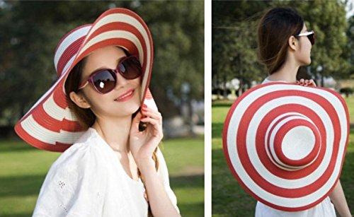 Qingsun Chapeau Fedora Panama en paille Filles Plage De La Mode Anti-Uv Pliables Rayures Noires et Blanches Larges Bords Protection Solaire Chapeau de Soleil rouge+blanc