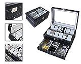 Todeco - Boîte à Montres et Bijoux, Présentoir à Montres et Bijoux - Matériau de la boîte: MDF - Matériau du coussin: Velours - 12 montres, tiroir à bijoux et vitre d'exposition, Gris