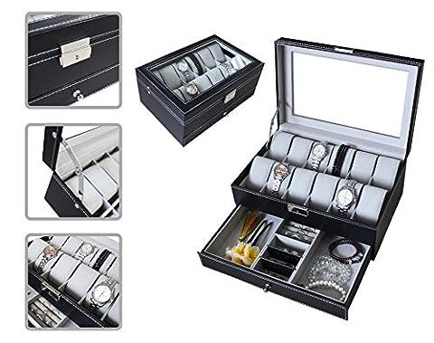 Todeco - Boîte à Montres et Bijoux, Présentoir à Montres et Bijoux - Taille: 30 x 20 x 14 cm - Matériau de la boîte: MDF - 12 montres, tiroir à bijoux et vitre d'exposition, Gris