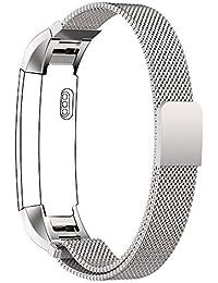 Fitbit Alta Bandes, PUGO TOP Sangle Boucle Milanaise Bracelet en acier inoxydable montre pour bracelet Fitbit Alta-argent