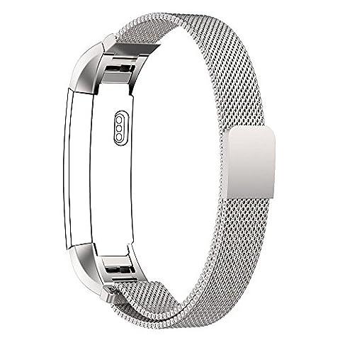 Für Fitbit Alta Watch Strap, PUGO TOP Milanaise Edelstahl Armbanduhren Watch Band Armband Für Fitbit Alta Silber