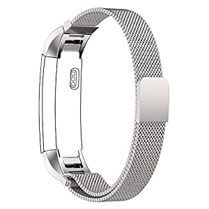 Fitbit Alta Bande Cinghia, PUGO TOP milanese magnetica Loop di ricambio in acciaio inox cinturino per Fitbit Alta Smart Watch - Argento