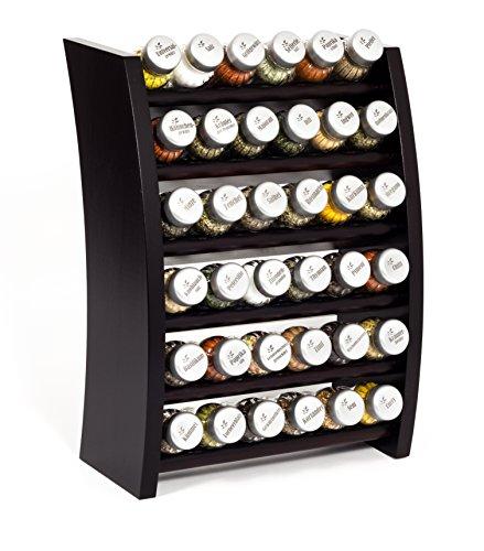 GALDBIS Gewürzregal, Küchenregal aus Holz für Gewürze und Kräuter, 36 Gläser, Gald – 36F-6x6 venge matt