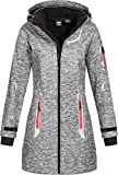 Geographical Norway Damen Softshell Kurzmantel Timael Kapuze Meliert Dark Grey XL