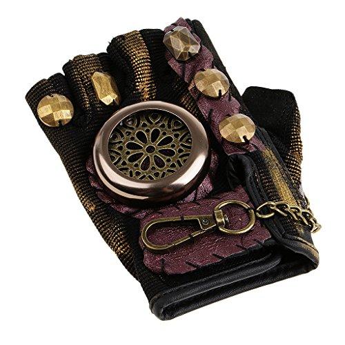 Homyl Herren Lederhandschuhe Nietenhandschuhe Punk Gothic Steampunk Handschuhe Halber Finger Fancy Dress Kostüm Zubehör - Linke Hand, S