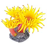 TOOGOO(R) Beton Basis Silikon Koralle Anemone Aquarium Pflanze Dekoration, gelb