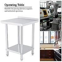 2FT/3FT/4FT Mesa de trabajo de cocina de acero inoxidable para bricolaje, mesa de trabajo profesional con borde de 2 estantes, mesa de trabajo de preparación para cocina y garaje 61X61CM