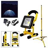 Hengda® 10W Gelb Kaltweiß LED AKKU Strahler Fluter Campinglampe Nachtfischen nächtliche Notreparaturen bei KFZ Werkstatt Baustrahler Handlampen mit Stativ