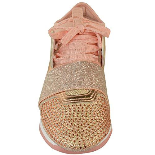 Fashion Thirsty Baskets Brillantes Bali - Élastiquées - Pour le Jogging - Femme Rose doré métallisé/rose pastel