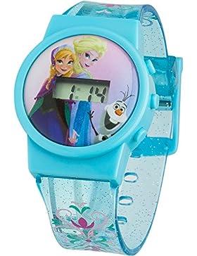 Frozen-Armbanduhr für Kinder, digitales Display, rosa Zifferblatt, blaues Kunststoffband, froz32