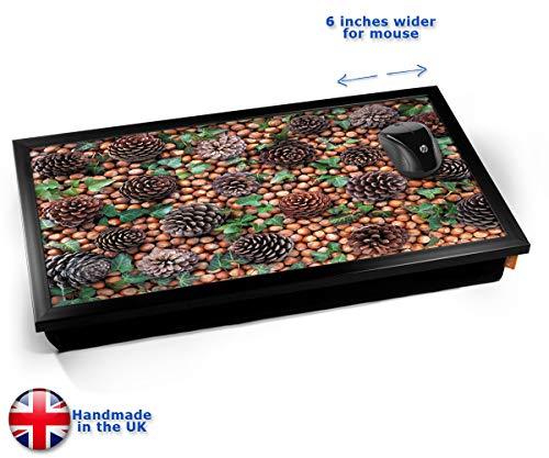 Pine Cones Tree Nature Cushioned Bean Bag Laptop Lap Tray Desk - Built-in EMF Shield (Electro Magnetic Field) Kissen Tablett Knietablett Kissentablett - Schwarzer Rahmen
