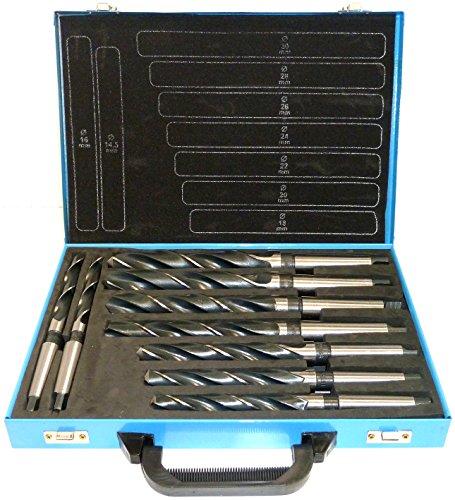 SYTO24, Spiralbohrer 9 tlg. HSS Konus-Bohrer, Stahlbohrer 14,5-30mm, Morsekegel MK MK2, MK3 DIN345