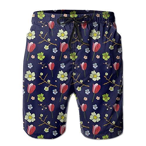 FAFANIQ Tulip Flower Floral Men's Summer Quick Dry Swim Trunks Cargo Pants Beach Shorts,XXL Floral Tulip-rock