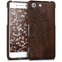 kwmobile Estuche de madera natural con Diseño Sol amaneciendo para el Sony Xperia M5 en madera de nogal marrón oscuro