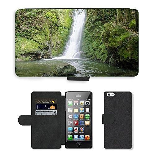 PU Leder Wallet Case Folio Schutzhülle // M00313466 Wasserfall Wald Teich Wasser Natur // Apple iPhone 5 5S 5G SE