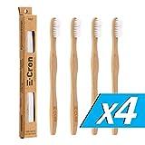 4 x E-Cron Bambus Zahnbürste (Weiß) mit einem umweltfreundlichen, 100 % organischem, ergonomischem Griff und mittel hart Borsten. Ihre Handzahnbürste mit dem sauberen und warmen Touch von Bambus.