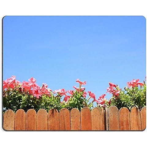 Luxlady gomma naturale Mousepads immagine ID 31447688 su recinzione in legno, motivo floreale, colore: rosa