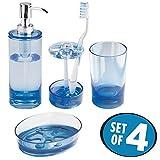 mDesign 4er-Set Badaccessoires – inklusive Seifenspender, Seifenschale, Zahnputzbecher und Zahnbürstenhalter aus Acryl – Badgarnitur für den Waschtisch – blau