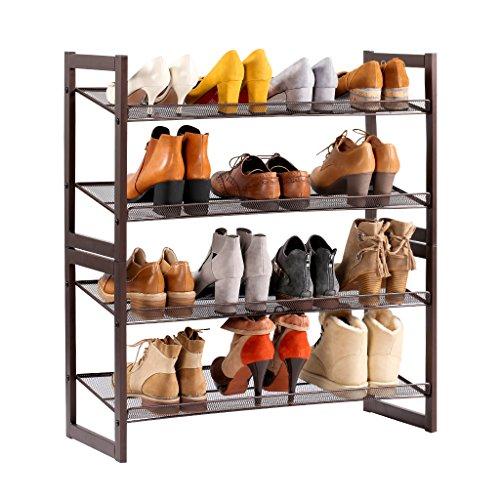 LANGRIA Schuhregal aus Metallgewebe Schuhablage mit 4 Ablagen Praktischer Schuhschrank 82x73.41x30.48 cm für ca. 16 Paar Schuhe, Bronze [Zurück zur Schule]