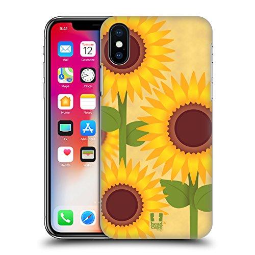 Fall + gehärtetem Glas Hauchdünne Polycarbonat Snap auf Passt Apple iPhone X Sonnenblume -