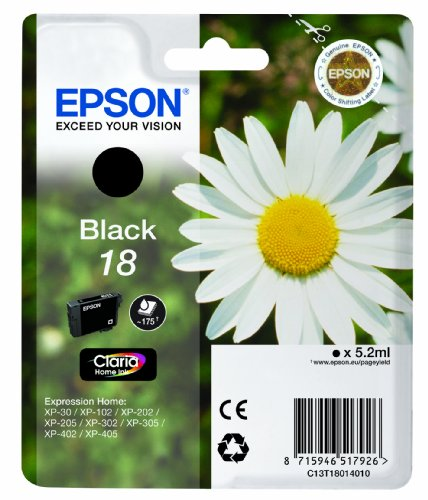 Epson 18 Serie Margherita, Cartuccia Originale Getto d'Inchiostro Claria Home, Formato Standard, Nero, con Amazon Dash Replenishment Ready