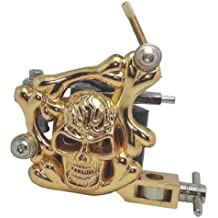 Panegy - Máquina de Tatuaje Tatuar de Cráneo de Oro - Tattoo Machine 8 Bobinas líneas - Oro