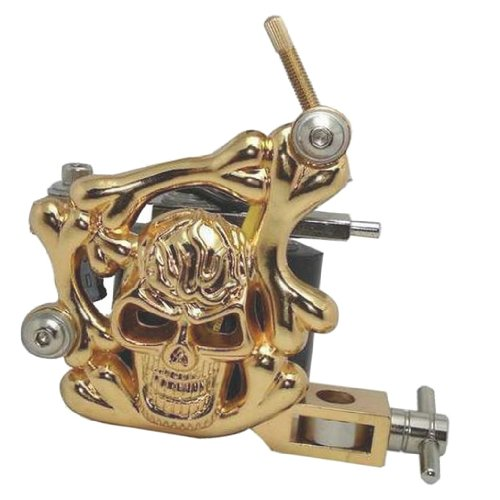 #Golden Totenschädel Tattoomaschine 8 Spule Reißwerkzeug Und Färben Tattoo Maschine Maschinengewehr Gerät Körper Kunst Angebot#