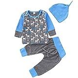 3 STÜCKE Kleinkind Baby Weihnachten Kleidung, Vovotrade Neugeborenen Weihnachten Hirsch Print Langarm Top Infant Kinder Baumwolle Bluse + Pants + Hut