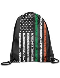 Preisvergleich für Vilico American Flag Irish Personalized Gym Kordelzug Tasche Reiserucksack Tote Schulrucksack