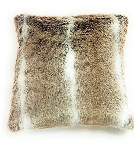 gefüllt Luxus beige creme weiß Fellimitat Wildleder sehr weich Kissen 17