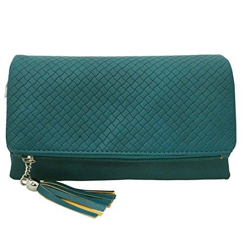 BMC da donna in pelle PU camera scomparto cerniera colore Fashion frizione borsa Verde (Deep Aqua)